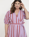 Opposing Stripes Wrap Dress Lavender + Wine
