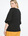 9-to-5 Draped Sleeve Top Black