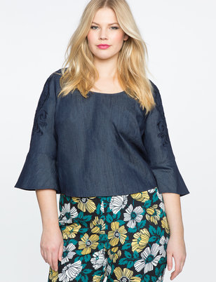 Embroidered Chambray Flare Sleeve Top