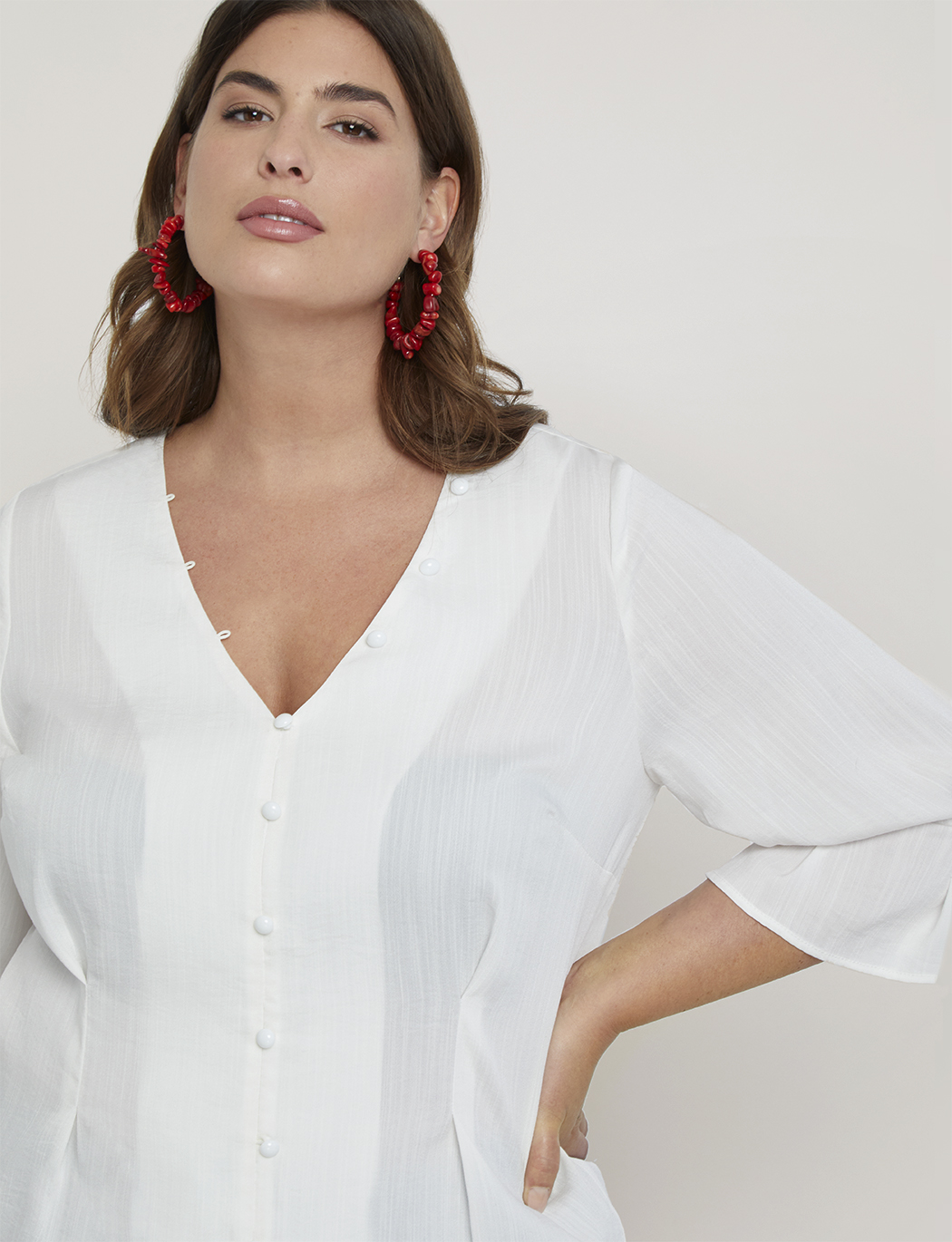 4945f703 Pleated Sleeve Button Front Top | Women's Plus Size Tops | ELOQUII
