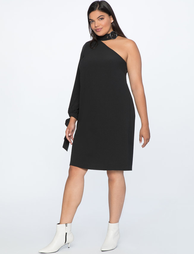 One Shoulder Dress With Buckle Detail Womens Plus Size Dresses
