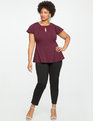 Pleated Neckline Peplum Top Ruby Dusk
