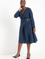 Long Sleeve Wrap Dress with Buckle Blue