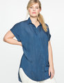 Chambray Popover Blouse Chambray