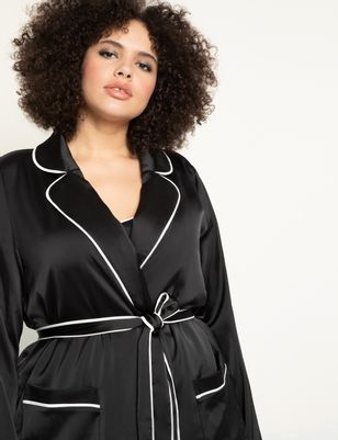 Lounge Robe Jacket with Piping Detail