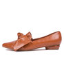 Grace Pointed Toe Flat Cognac
