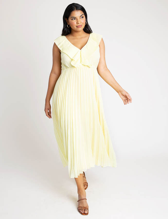 Pleated Ruffle V-Neck Dress