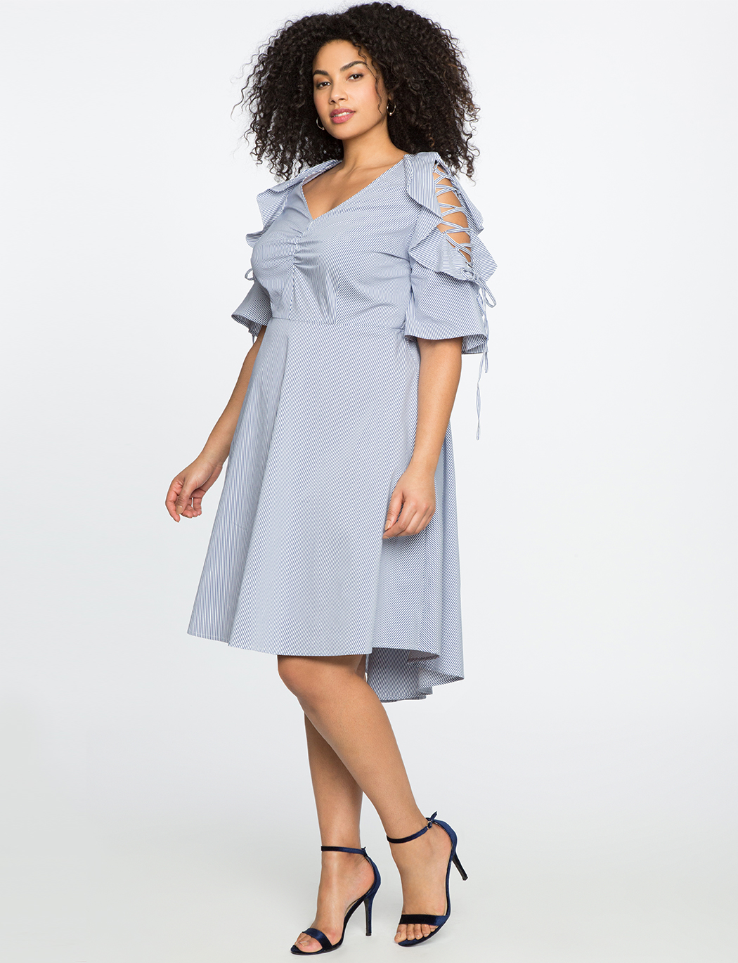 Tie Shoulder Ruffle Dress
