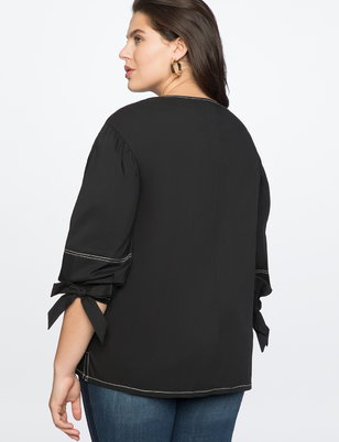 Puff Sleeve Top with Tie