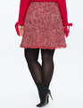 Tweed Fit and Flare Skirt Red