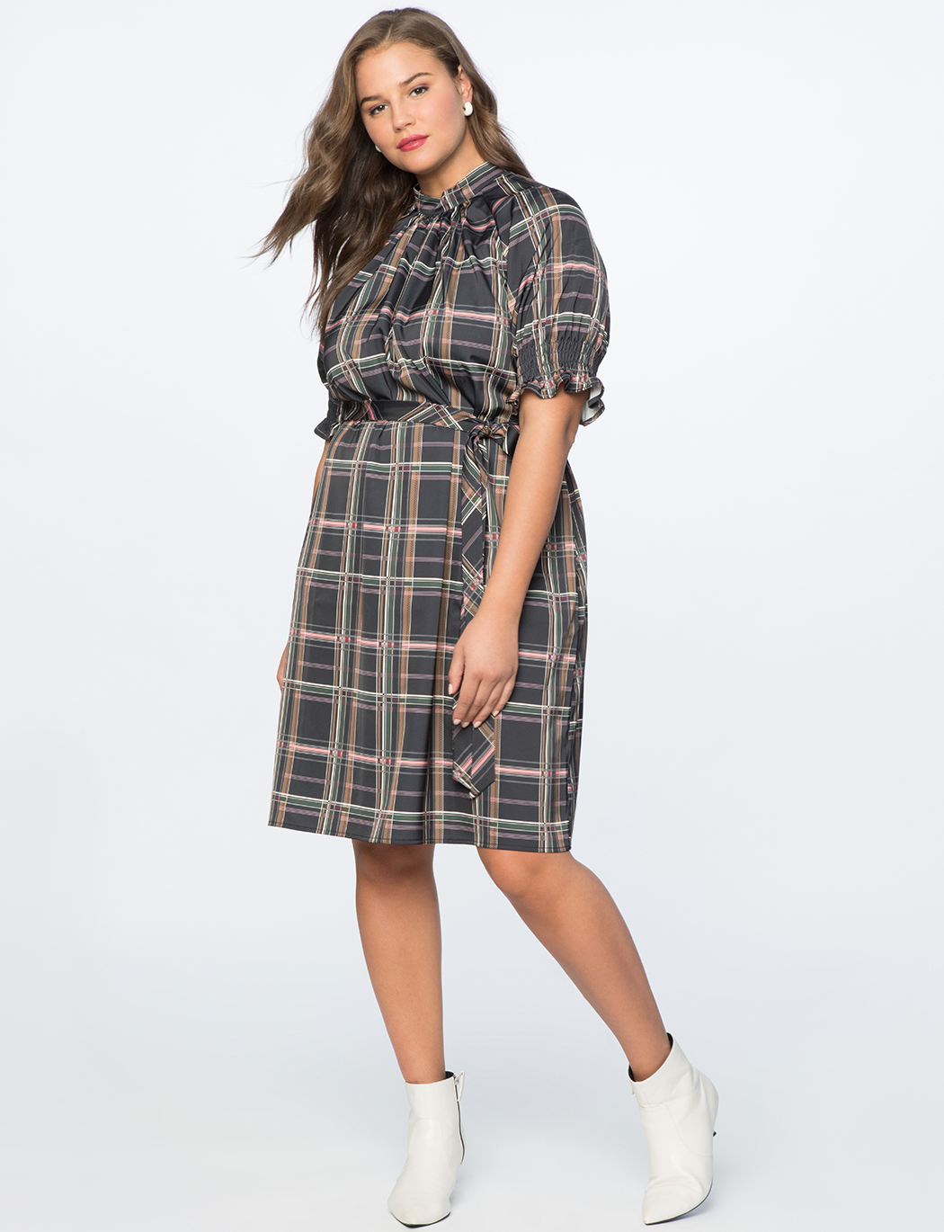 Smocked Puff Sleeve Mock Neck Dress