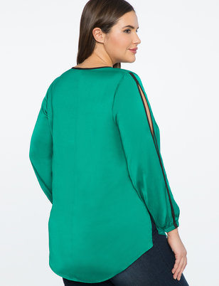 V-Neck Top with Slit Sleeve Detail