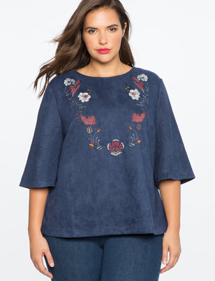 Embroidered Faux Suede Top