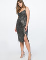 Cowl Neck Metallic Dress Silver with Black