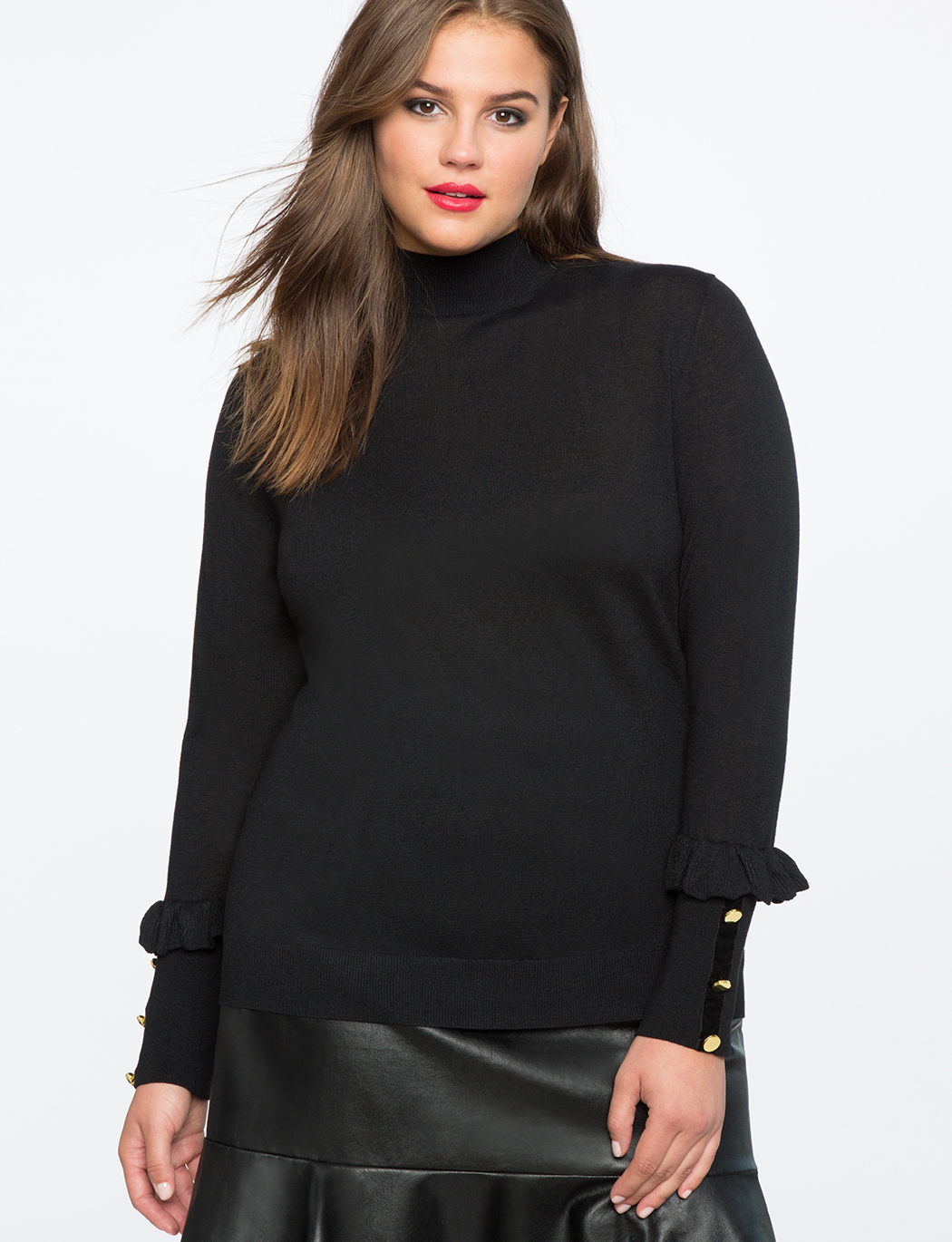 9931862242 Button Cuff Turtleneck Top | Women's Plus Size Tops | ELOQUII