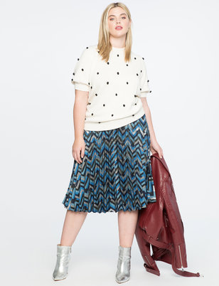 Chevron Print Midi Skirt