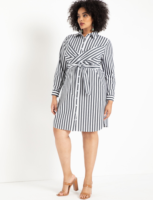 Striped Cinched Waist Dress