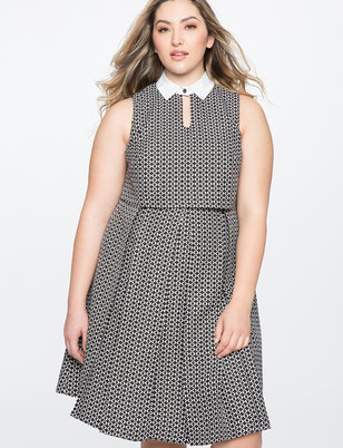 Fit and Flare Dress with Keyhole Detail