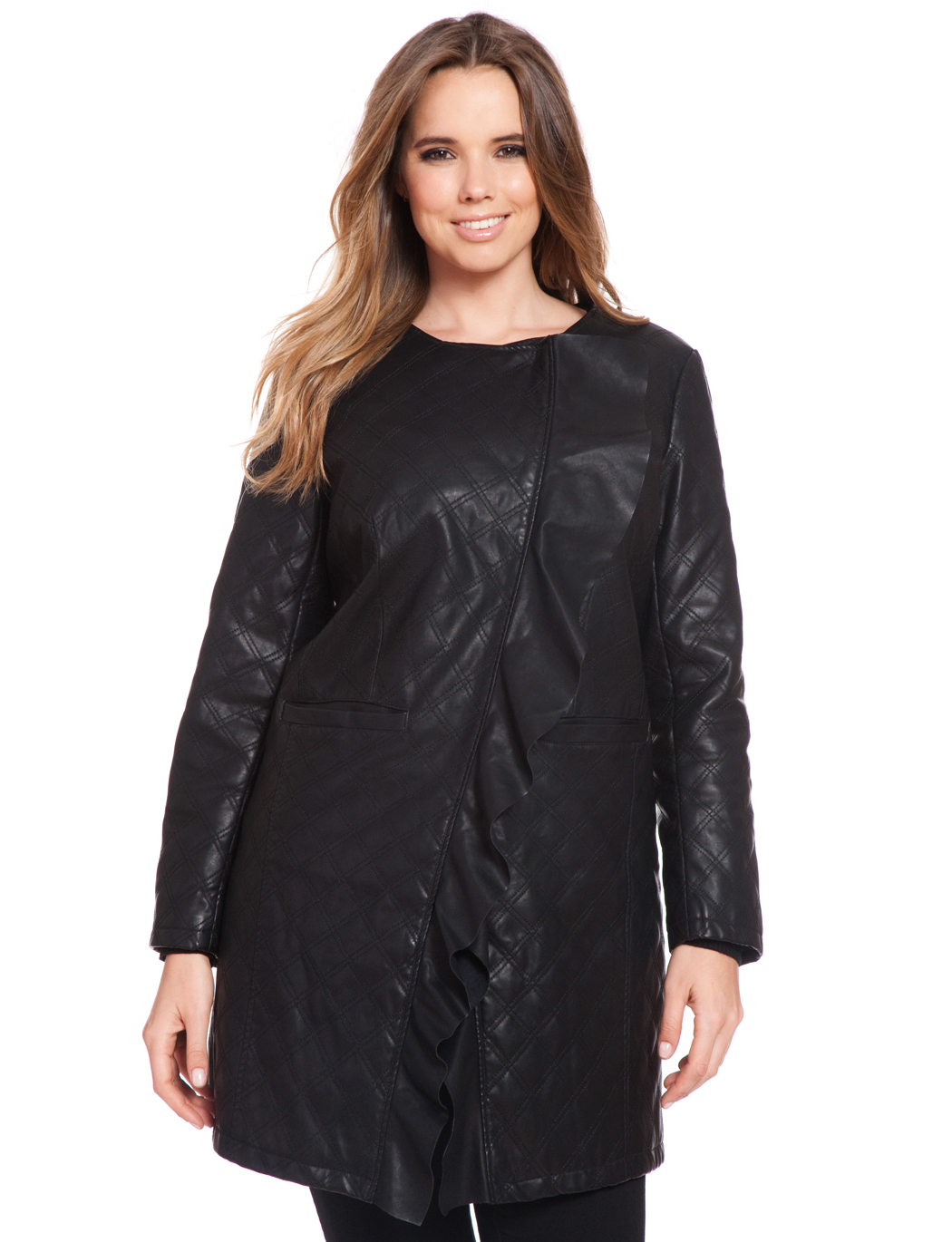 64e1d0aaff19e Quilted Faux Leather Ruffle Coat