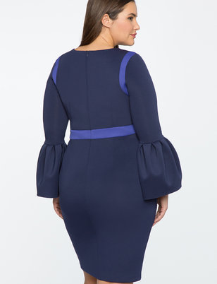 Flounce Sleeve Colorblocked Dress