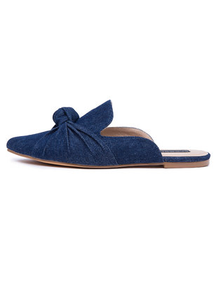 Denim Knotted Mule