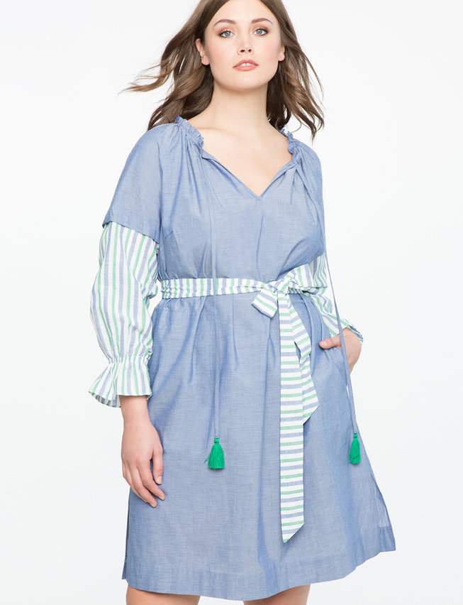 Striped Sleeve Easy Dress with Tie Detail