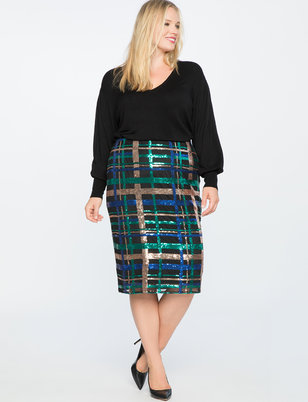 Plaid Sequin Pencil Skirt