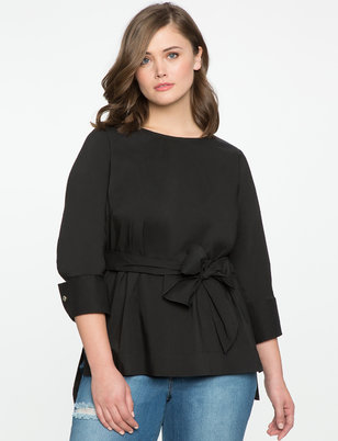 Tie Waist Top with Cuff