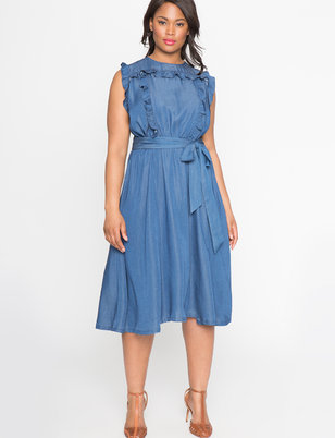 Sleeveless Ruffle Shirt Dress