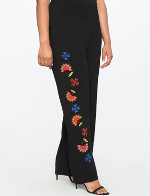 Studio Wide Leg Embroidered Trouser
