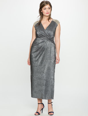 Studio Wrap Front Dress with Shoulder Beading