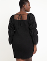 Smocked Dress with Puff Sleeves Black