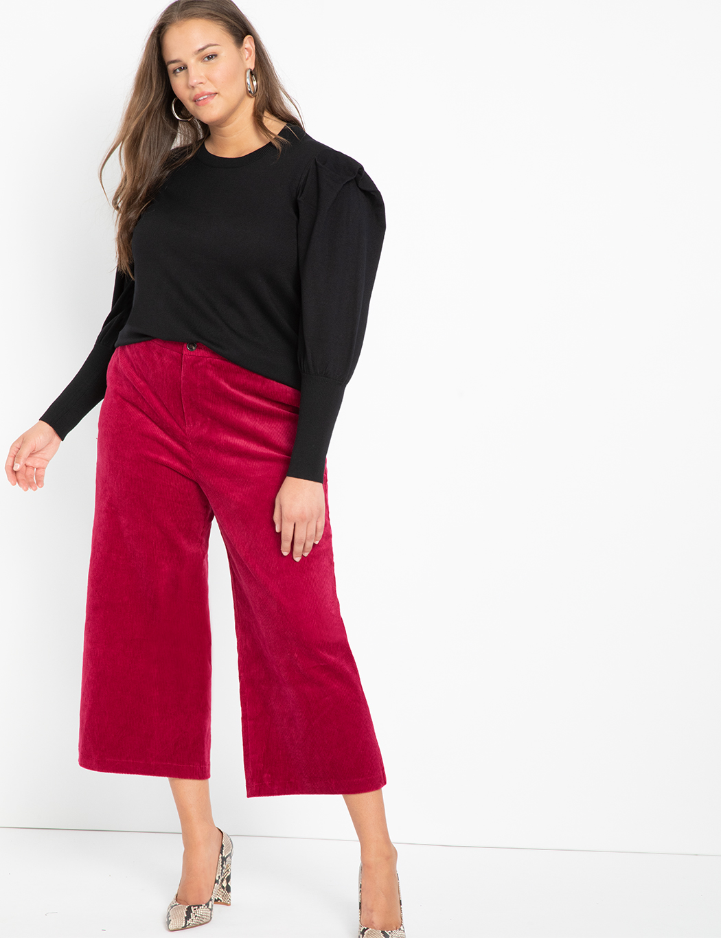 Crop Wide Leg Courduroy Pant