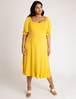 Puff Sleeve Sweetheart Neckline Dress