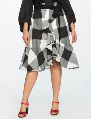 Plaid Ruffle Skirt with Paper Bag Waist