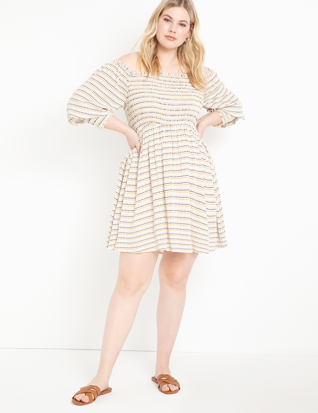 Smocked Bodice Midi Dress