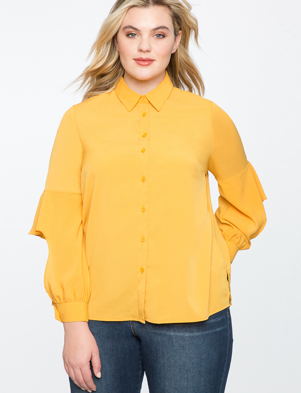 f6d795a299 Ruffled Cutout Button Down Blouse | Women's Plus Size Tops | ELOQUII