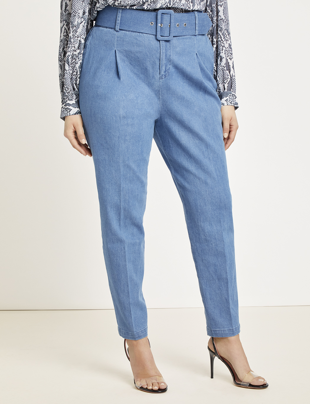Belted Pleat Front High Waist Skinny Denim Trouser