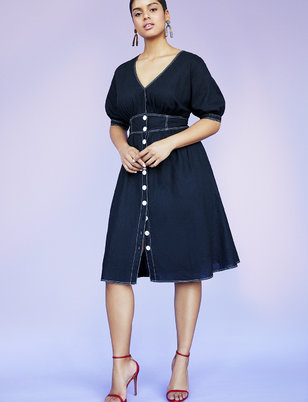 V-Neck Contrast Stitching Dress