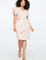 Pearl Front Pleated Sleeve Dress CREOLE PINK