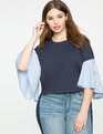 Poplin Bell Sleeve Tee Navy with White/Blue Stripes