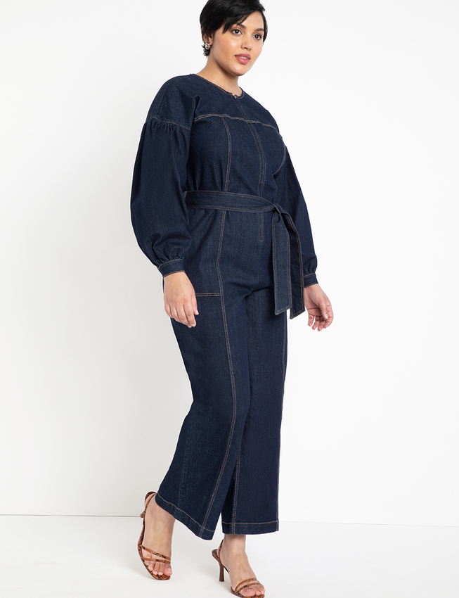 Puff Sleeve Denim Jumpsuit