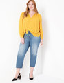 Bow Neck Pleated Top Marigold
