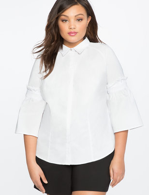 Gathered Sleeve Blouse with Collar