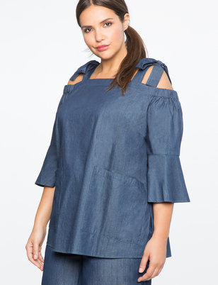 Chambray Tie Shoulder Tunic
