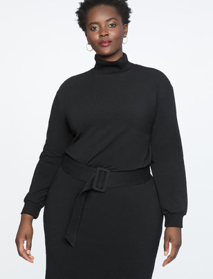 Belted Mock Neck Dress