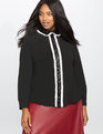 Studio Ruffles and Sequins Pleat Front Blouse Black and True White