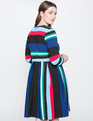Opposing Striped Knit Dress Multi Stripe