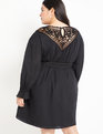 Embroidered Yoke Dress Black