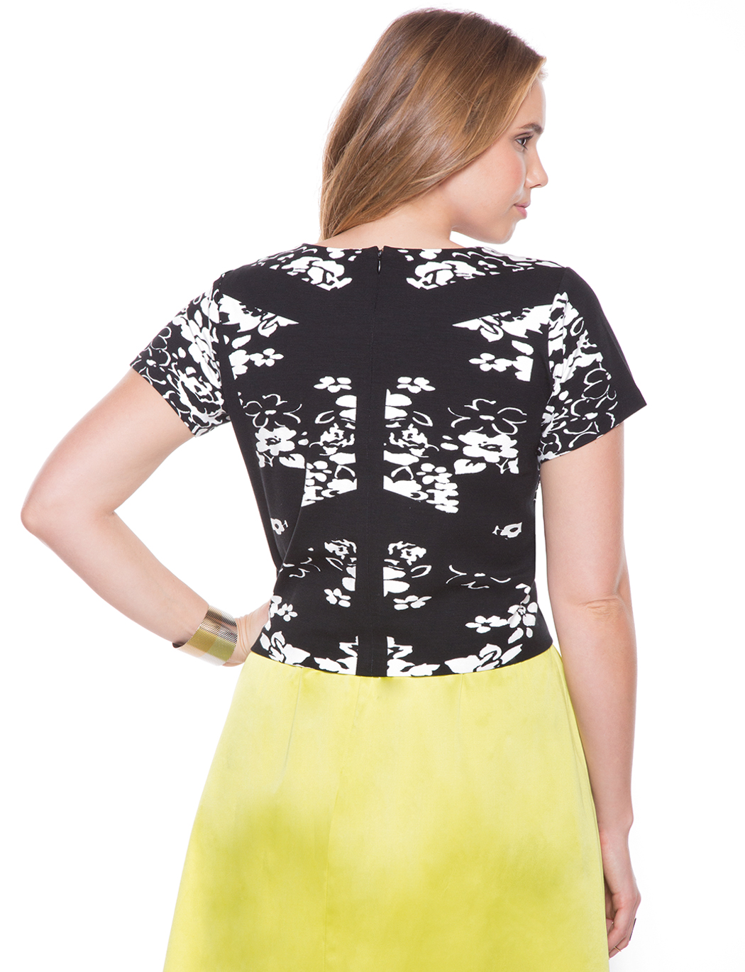 768d9f1b7 Graphic Overlay Floral Top   Women's Plus Size Tops   ELOQUII